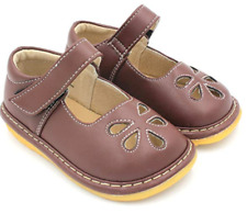 Brown Mary Jane Squeaky Shoes for Toddler Girl Baby Walking Shoes Size 5