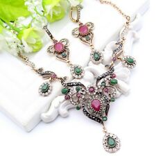 Womens Vintage Style Turkish Jewelry Set Necklace Earrings Antique Gold Crystals