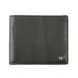 New $390 TOM FORD Dark Green Leather Classic Bifold Wallet with Silver Logo