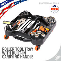 Mechanic Roller Tool Tray Storage Organize With LED Handy Parts Pan Swivel Wheel