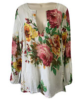 EASTERN Bohemian Floral Print Tunic Top Hippie Shirt Smock Blouse Cotton UK 8 XS