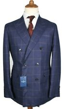 Bnwt HACKETT Double-Breasted blue windowpane linen Blazer 40R /EU50 RRP£650