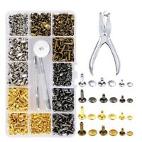 360Pcs 3 Sizes Leather Rivets Double Cap Rivet Tubular Metal Studs with 4 F W1A2