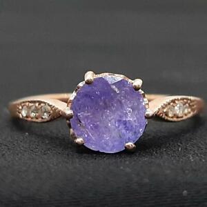Genuine 1.45ctw Tanzanite & H-SI Diamond 14K Rose Gold 925 Silver Ring Size 7