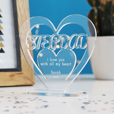 Personalised Heart Message Ornament Keepsake Step Dad Fathers Day Birthday Gift