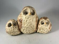 Vintage Unique Handmade Three Owls Sculpture - Outsider Art Kitsch Craft