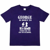 George Born Be A Gamer Kids Personalised T-Shirt Birthday Gift Gaming Tee