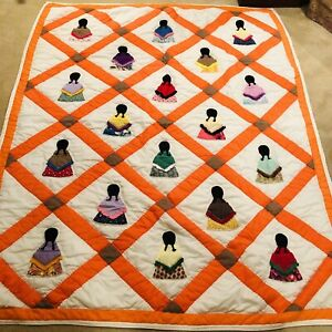 """Native American Girl Homemade Patchwork and Applique Quilt 76""""L X 58""""W (Twin)"""