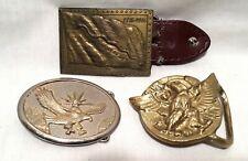 3 Vintage American Eagle Belt Buckles, Don't Tread On Me Flag 1776-1976