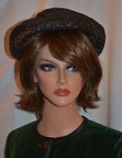 b2bd07adad9 Jean Sutton Vintage 60s Black Woven Brimmed Women s Hat