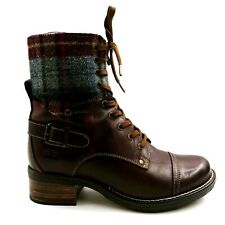 Taos Womans Crave Over the Ankle Lace Up Boot Brown Leather Block Heel EUR 38