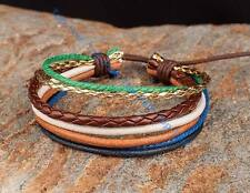 Mens Leather and Hemp Braided Surfer Wristband Bracelet Cuff Lots Color For Lady