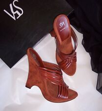 NWB $260 Saks 5th Avenue Brown Leather Suede Slides Sandals Sz 8.5 Made in Italy