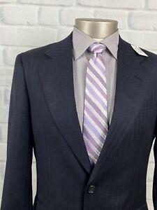 NEW Jos A Bank Men's Stitch Lapel Navy Herringbone Sport Coat Blazer Sz 37 R