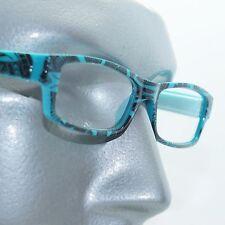 Reading Glasses Sharp Ink Style Tattoo Graffiti Frame +1.75 Turquoise Blue Black