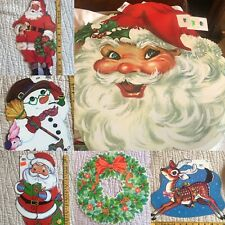 Vintage Christmas Die Cut Wall Decoration Santa Rudolph Frosty Snowman Flocked