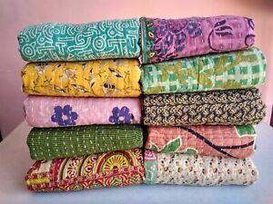 Indian Kantha Quilt Handmade Vintage Coverlet Decor Bedspread Cotton Blanket