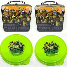 x2 Teenage Mutant Ninja Turtles Tin Snack Container Lunch Box Set Crayon Craft