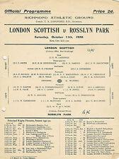 London Scottish vRosslyn Park 11 Oct 1930 RUGBY PROGRAMME