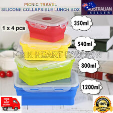 4Pcs Silicon Collapsible Lunch Box Portable Folding Food Safe Storage Container