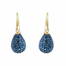 Gold-Tone Silver Shamballa Inspired Blue Crystal Teardrop Earrings