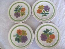 Franciscan Earthenware Purple, Orange Floral Green Rims/Handles- 4 Salad Plates
