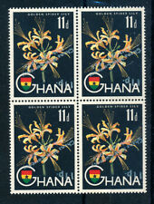More details for ghana 1965 definitives sg386a 11p on 11d new currency inverted block of 4 mnh