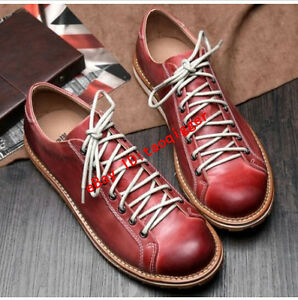 New Fashion Mens Oxford brogue lace up genuine leather casual sneaker shoes 2019