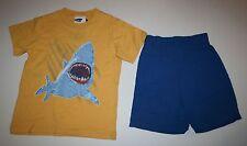 New Big Fish 2 Pc Outfit Yellow Shark Top Tee Bright Blue Shorts Set 5 Year NWT