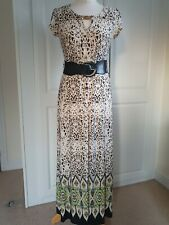 Ladies Beige Mix WALLIS JERSEY BELTED MAXI DRESS SIZE S