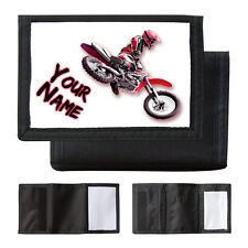 PERSONALISED RED MOTOCROSS BIKE - BOYS / MANS WALLET / PURSE - NAMED GIFT