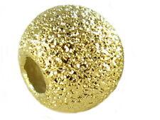Perlen 925er Silber,  vergoldet. Hohlkugel. 6mm. Glitzer. Stardust. 2 Stück