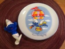 Vintage Smurf Collectable Plate- Wallace Berrie/1982 & Porcelain Smurf Figurine