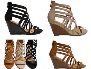 Black Tan Beige Blush Wedge Gladiator Caged Heels Sandals Booties Shoes runs W