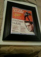 Michael Buble and Bryan Adams Concert Promo Ad Framed! Printed Once!