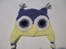 Kid's Crochet Purple, Yellow, and White Owl Beanie Hat