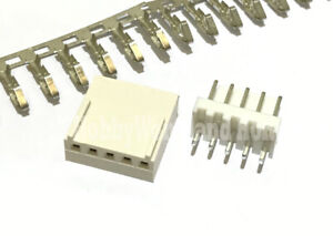 2510 2.54mm 5-Pin Female Connector Male Straight Header Crimp Contact Pin 30 SET