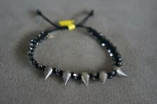 NEW Chan Luu Tinted Swarovski Crystal Black Cotton Spike Pulley Bracelet