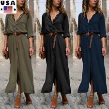 Women Summer Casual Maxi Dress Ladies Long Sleeve V Neck Pocket Shirt Long Dress