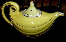 """HALL Yellow Aladdin Teapot w/ Gold Trim 6 Cup Length 11"""" Alladin Made in USA exl"""