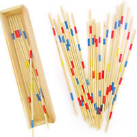 Wooden Pick Up Sticks Wood Retro Traditional Game Pickup Stick Toy Wooden BoxN_N