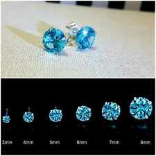 GENUINE 925 STERLING SILVER STUD EARRINGS CUBIC ZIRCONIA WOMEN MEN SOLID SILVER