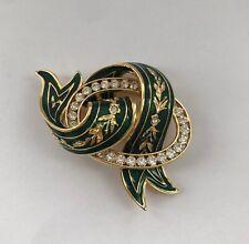 Vintage Joan Rivers Jewellery, Green Enamel Gold Plated Ribbon Rhinestone Brooch