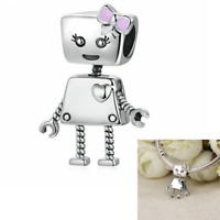 925 Sterling Silver Pandora Adorable Robot Bead Charm with Love Heart Pendant