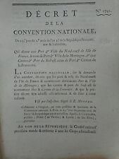 614 LOI DECRET CONVENTION NATIONALE 1793 PORT VILLE CANTON ILE DE FRANCE COLONIE