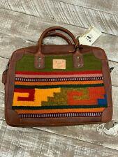 Will Leather Goods Aztec Oaxacan Briefcase Green Aztec NWT