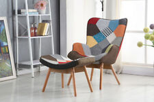 Retro Design Wing Back Patchwork Fabric Lounge Armchair Chair With Foot Stool