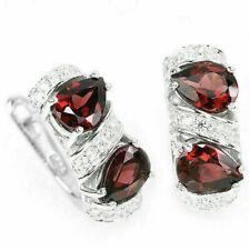 Sterling Silver Genuine Natural Deep Red Garnet and Lab Diamond Earrings