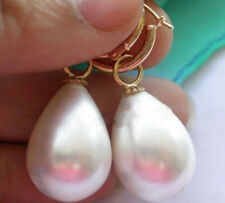 LARGE 12x16MM DRIP WHITE SOUTH SEA SHELL PEARL DANGLE EARRING 14K Gold Plated