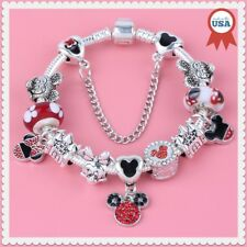 Disney Mickey Minnie Red Black Murano Bead European Charm Bracelet Jewelry Pouch